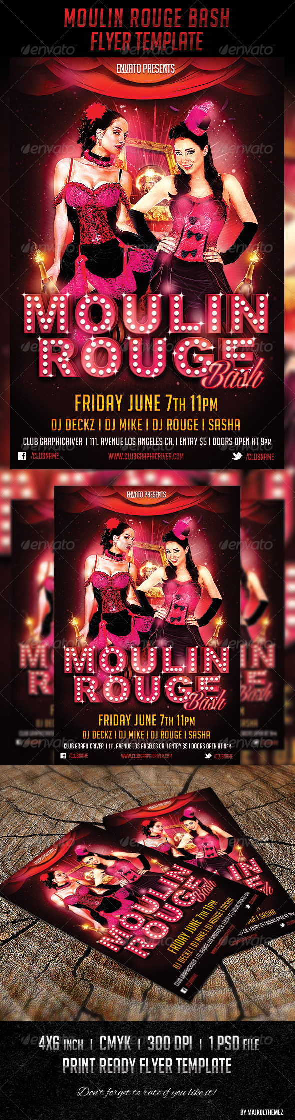 Moulin Rouge Bash Flyer Template by majkolthemez | GraphicRiver