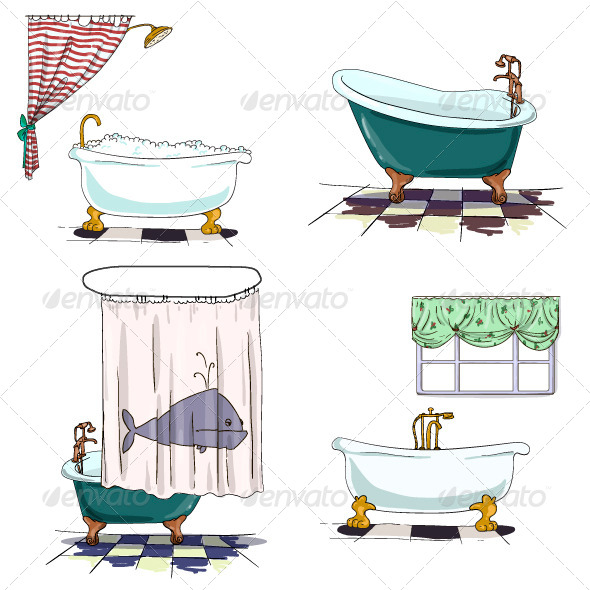 Bathroom Interior Elements - Objects Vectors