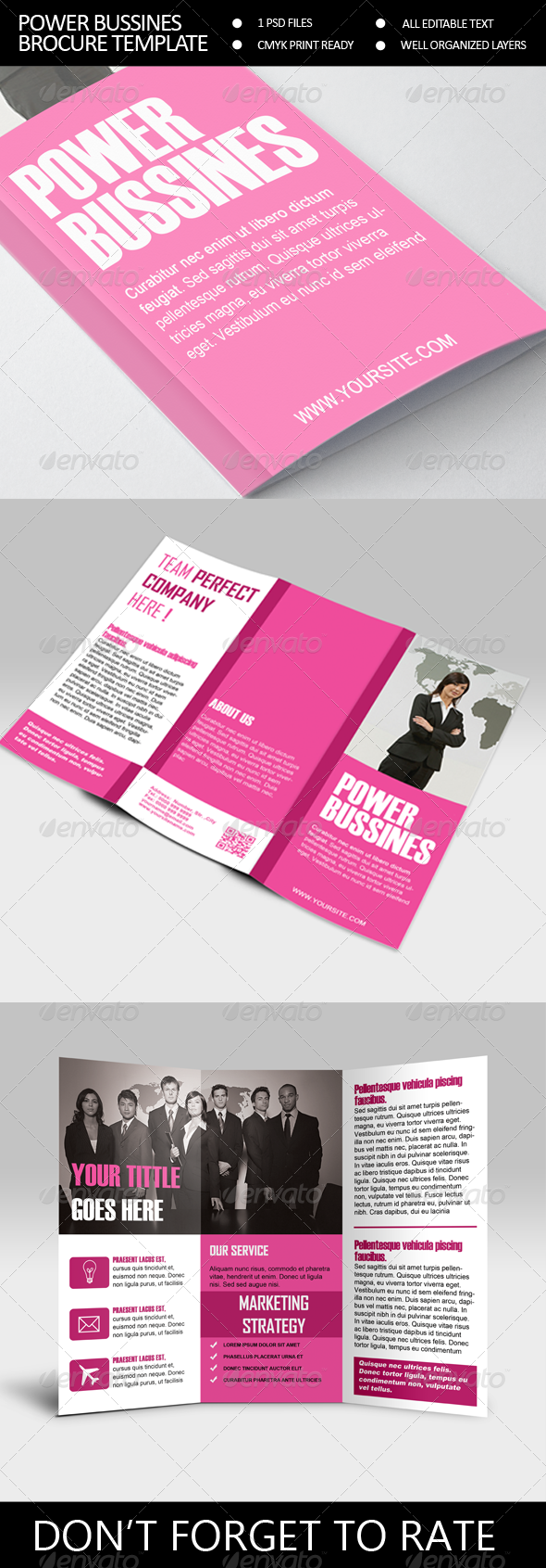 Power Bussines Trifold Brocure Template - Corporate Brochures