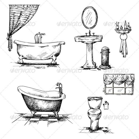 Bathroom Interior Elements - Objects Vectors