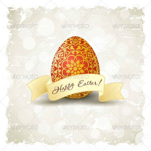 Grungy Easter Background with Decorated Egg - Seasons/Holidays Conceptual