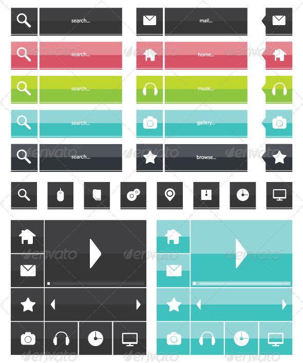 Flat Icons Web Elements - Web Elements Vectors