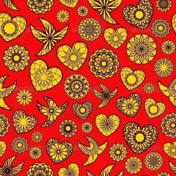 Hearts and Birds Seamless Pattern - Patterns Decorative