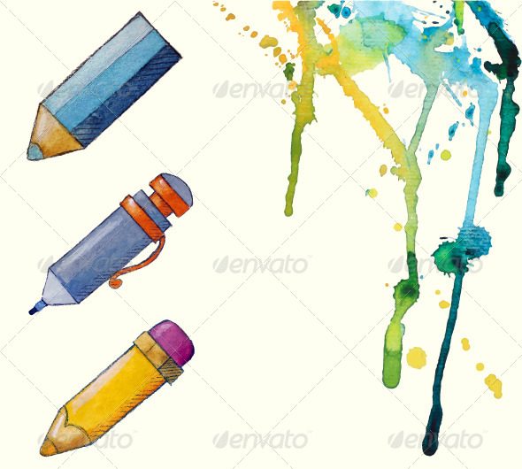 Painted Pencil Icons - Objects Vectors