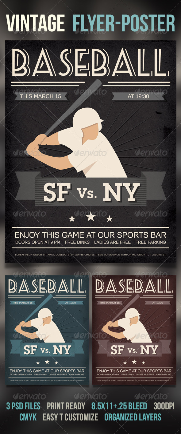 Baseball Vintage Poster/Flyer - Sports Events