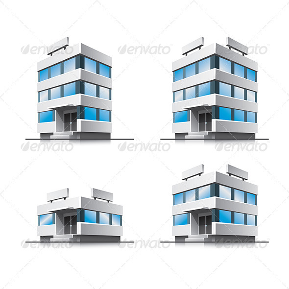 Cartoon Office Vector Buildings - Buildings Objects
