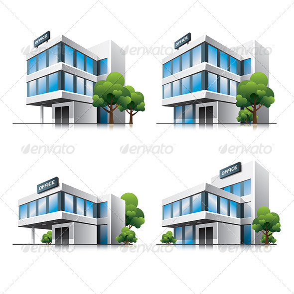 Office Buildings Cartoon Icons - Buildings Objects