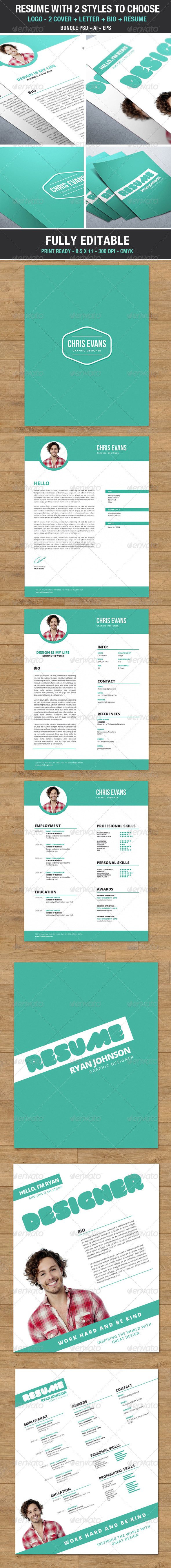 Clean Modern Resume 2 styles to choose - Bundle - Resumes Stationery
