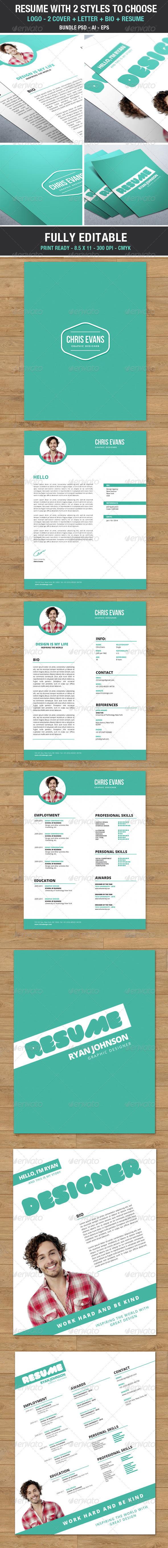 Clean Modern Resume 2 styles to choose - Bundle - Resumes Stationery