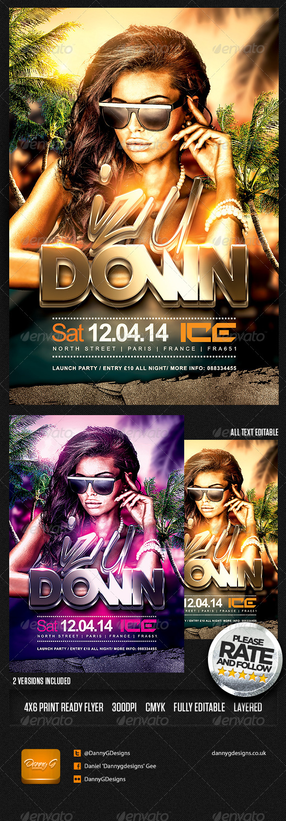 Iz U Down Flyer Template PSD - Clubs & Parties Events