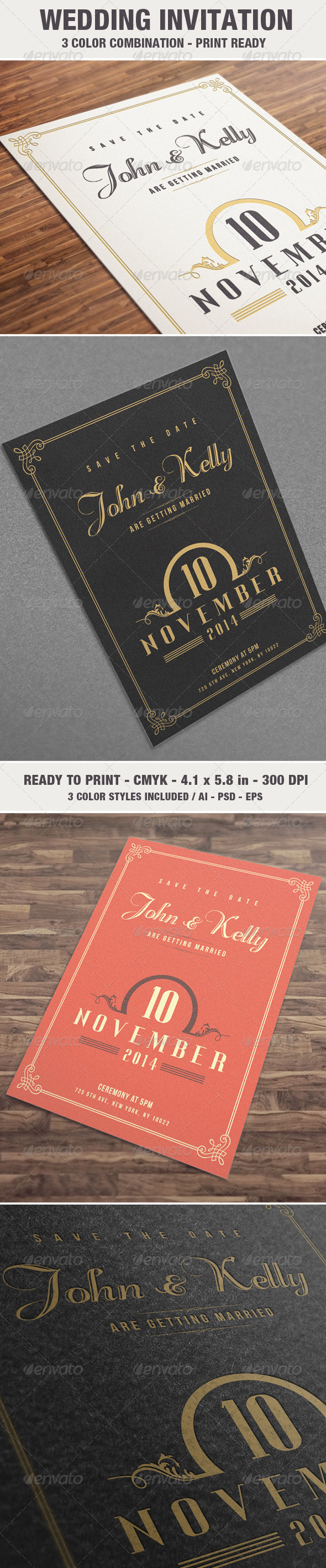 Elegant & Vintage Wedding Invitation / Card V2 - Weddings Cards & Invites