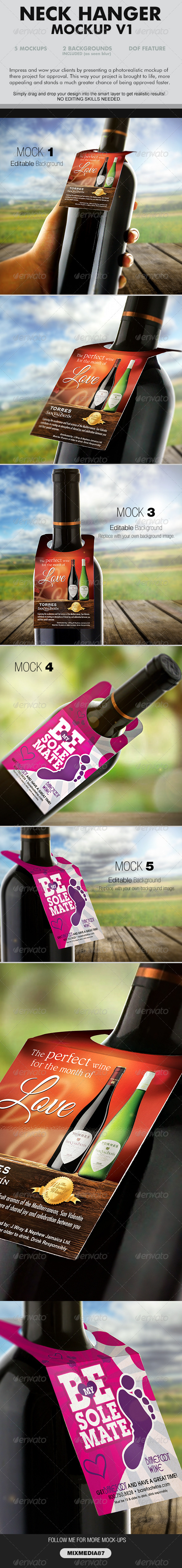 Wine Neckhanger Mockup - Product Mock-Ups Graphics