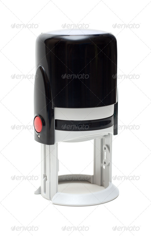 Automatic seal with red button - Stock Photo - Images