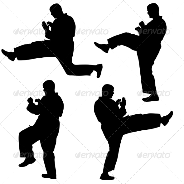 Karate Silhouettes - People Characters