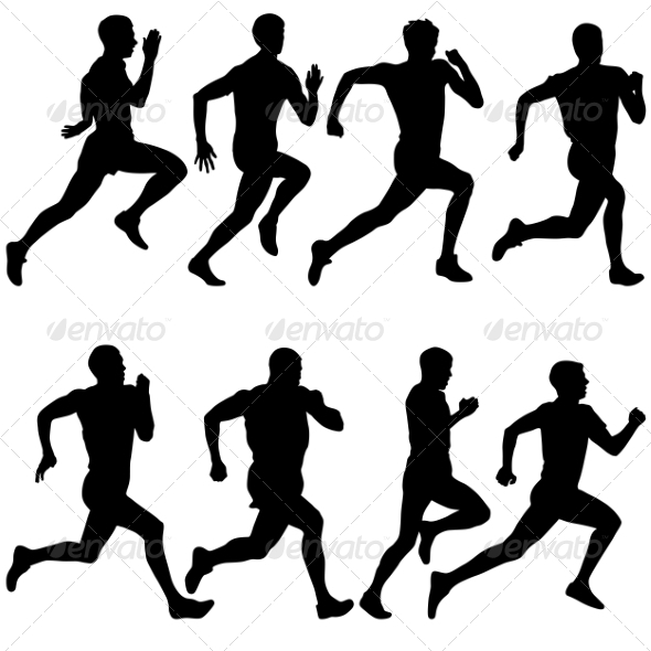 Running Silhouettes - People Characters