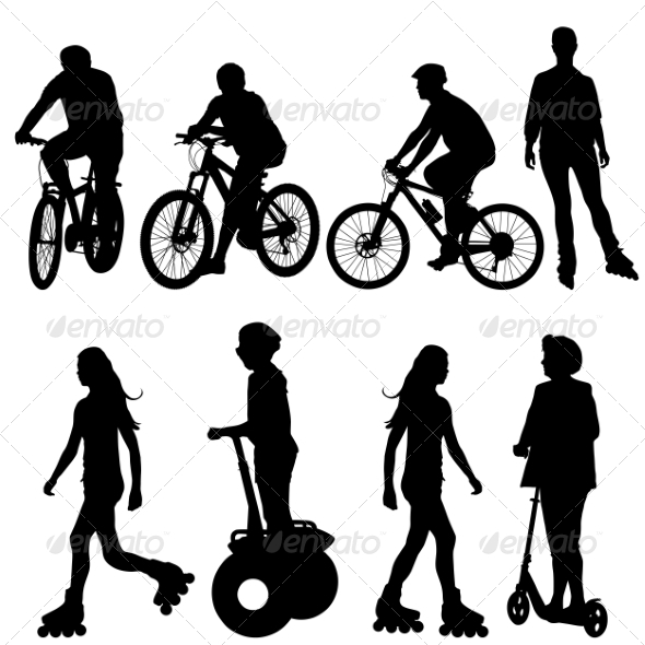 Cyclist Silhouettes - People Characters