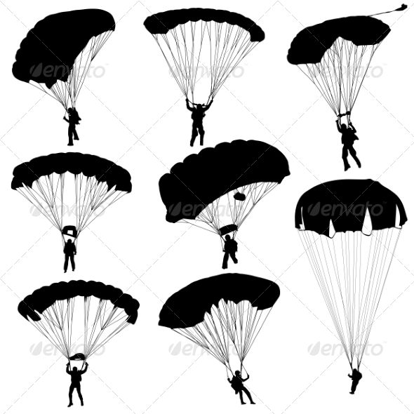 Parachuting Silhouettes - People Characters