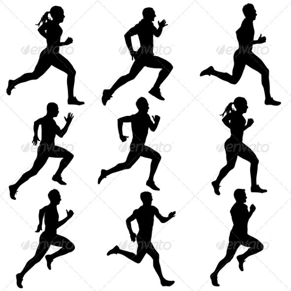 Runner Silhouettes - People Characters