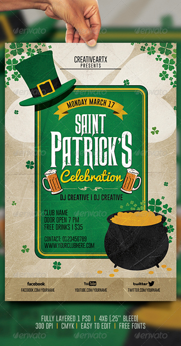 Vintage St. Patrick's Celebration Flyer - Events Flyers
