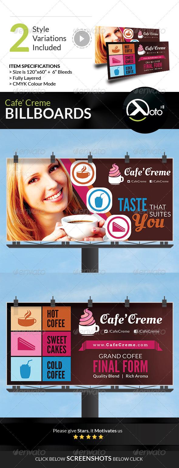 Cafe Creme Billboard Banner - Signage Print Templates