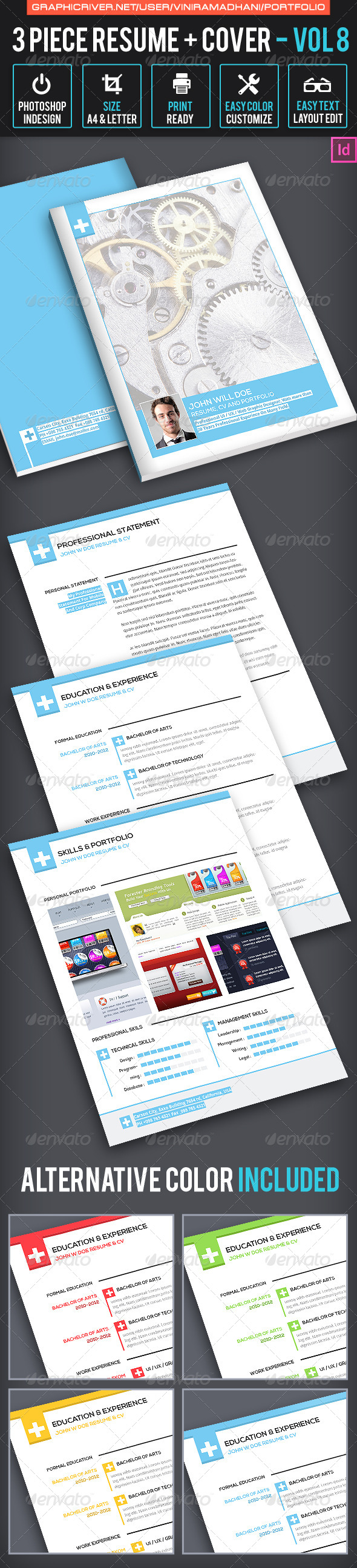 Simple Resume CV Volume 8 - Resumes Stationery
