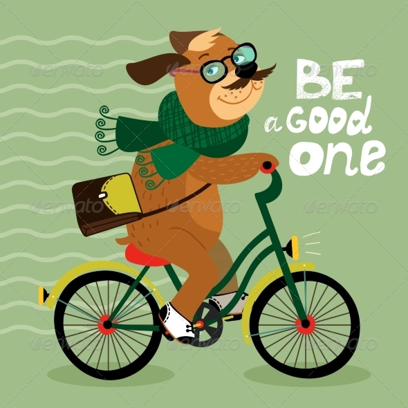 Hipster Poster with Nerd Dog - Backgrounds Decorative