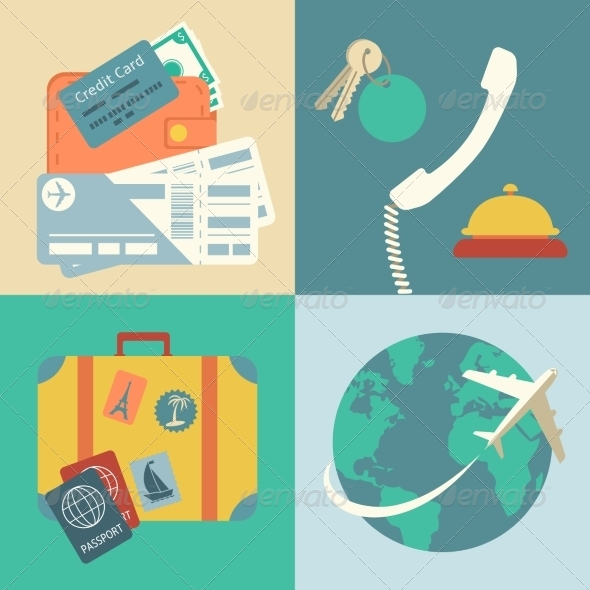 Vacation Travel Icons Set - Travel Conceptual