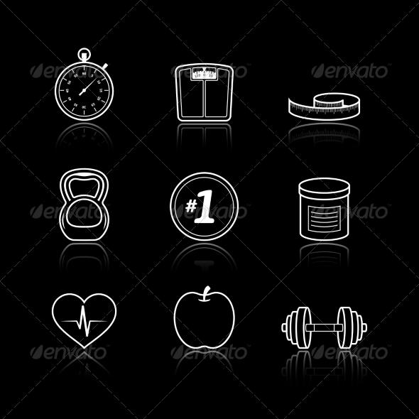 Fitness Sport Wellness Healthcare Icons Set - Web Elements Vectors
