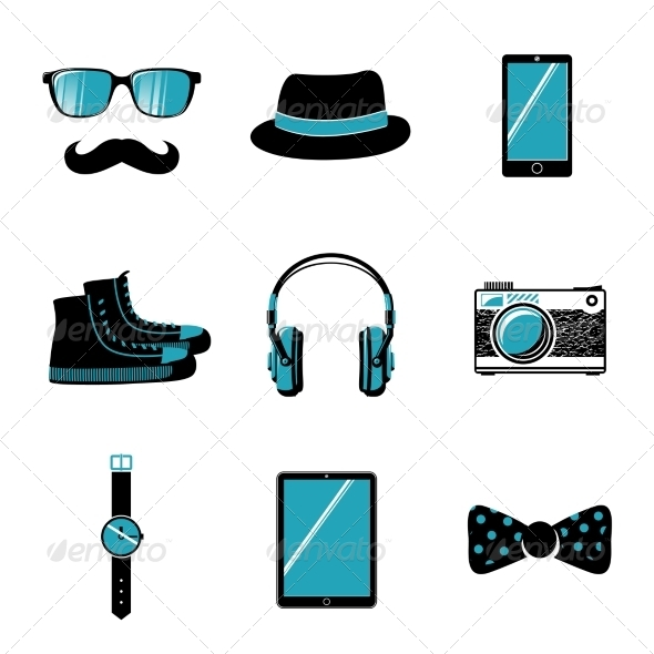 Hipster Items Collection - Web Elements Vectors