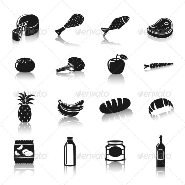 Supermarket Foods Pictograms - Web Elements Vectors