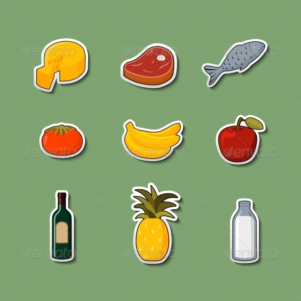 Supermarket Foods Items on Stickers - Food Objects