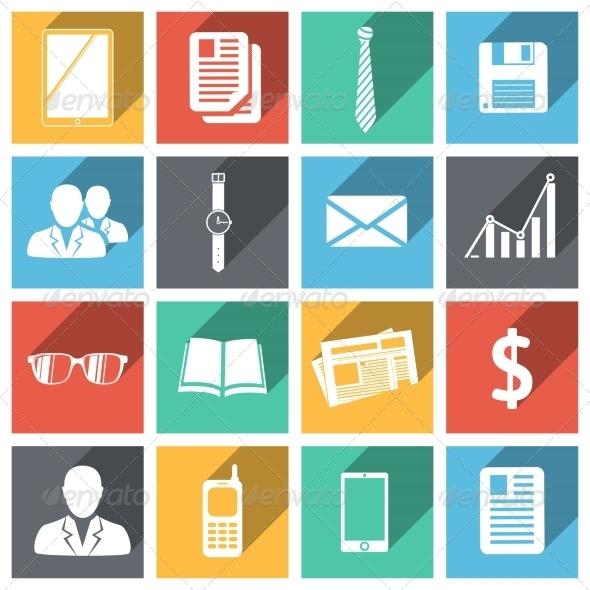 Flat Business Icons Set - Web Technology