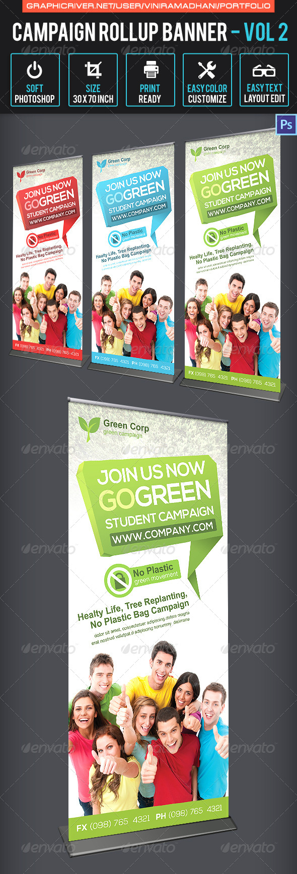 Campaign Roll Up Banner | Volume 2 - Signage Print Templates