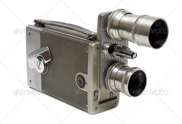 Old movie camera 16 mm with two lenses - Stock Photo - Images