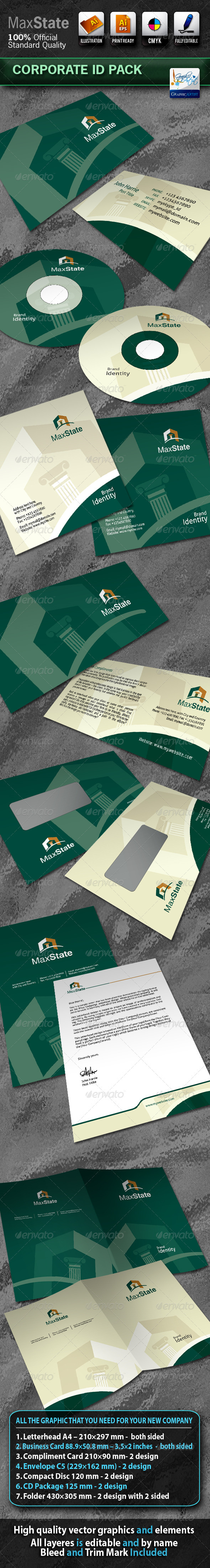MaxState Business Corporate ID Pack With Logo - Stationery Print Templates