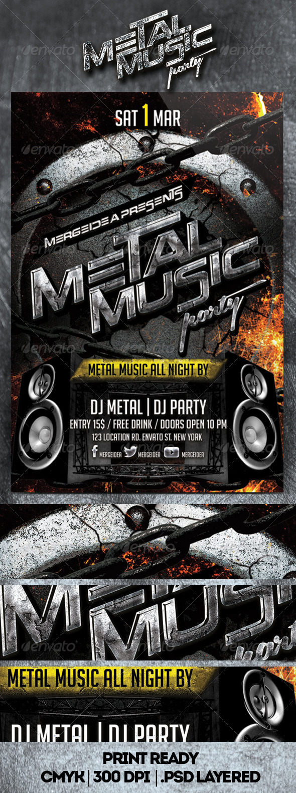 Metal Music Party Flyer - Clubs & Parties Events