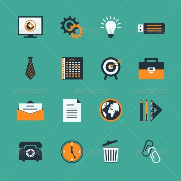Business Office Stationery Icons Set - Business Icons