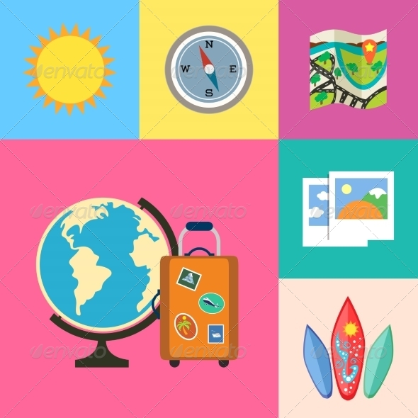 Vacation Holidays and Travel Icons Set - Travel Conceptual