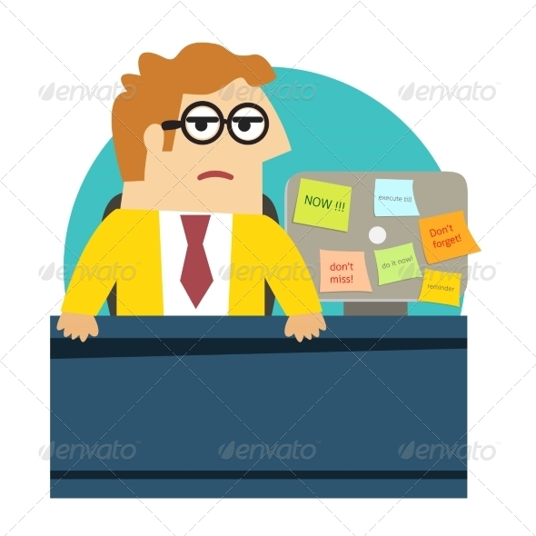 Worried Angry Office Worker at the Desk - People Characters