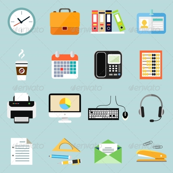 Business Office Stationery Icons Set - Web Elements Vectors