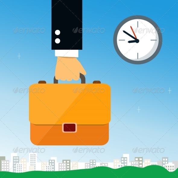 Business Hand Holding Briefcase - Concepts Business