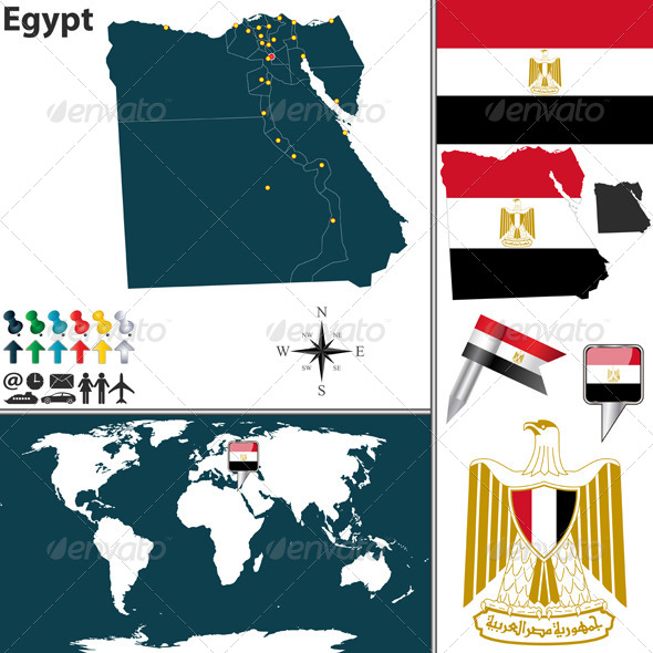 Map of Egypt - Travel Conceptual