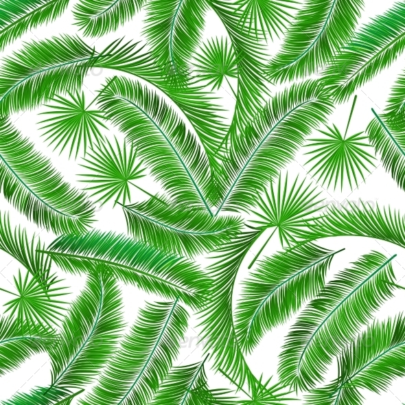 Tropical Palm Tree Seampless Pattern - Backgrounds Decorative
