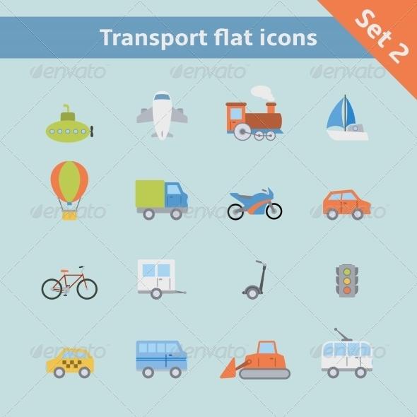 Transportation Flat Icons Set - Web Elements Vectors