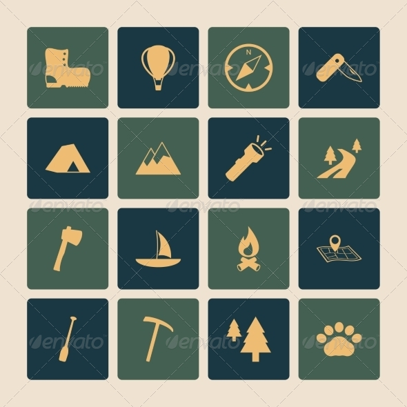 Outdoors Tourism Camping Flat Icons Set - Web Icons