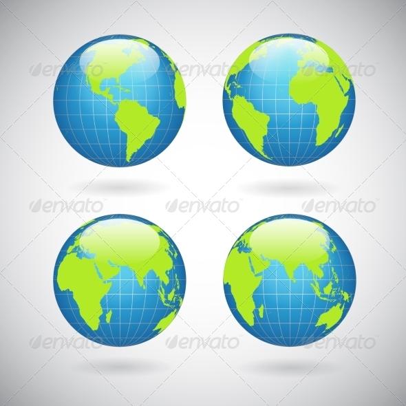Earth Globe Icons Set - Web Elements Vectors