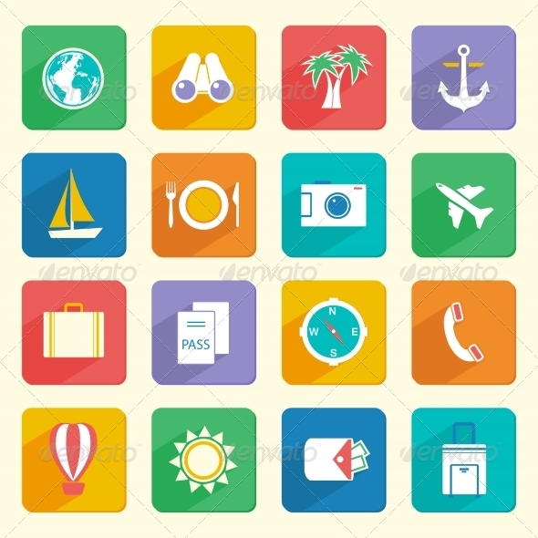 Travel Vacation Icons Set - Web Icons