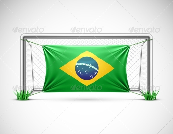 Soccer Goal with Flag Brazil - Sports/Activity Conceptual