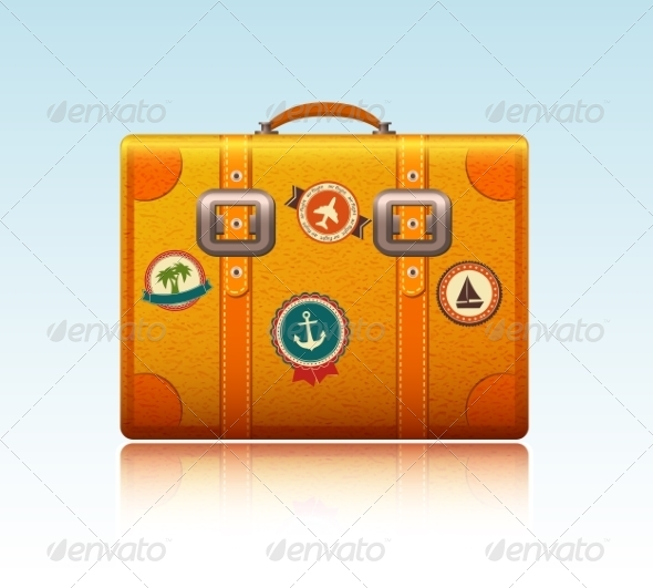 Travel Suitcase with Stickers - Travel Conceptual