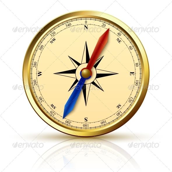 Navigation Compass Golden Emblem - Man-made Objects Objects